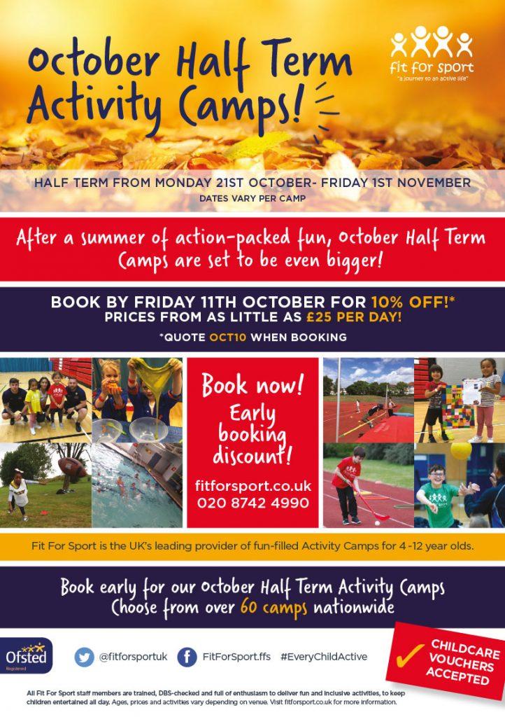 October half term activities flyer